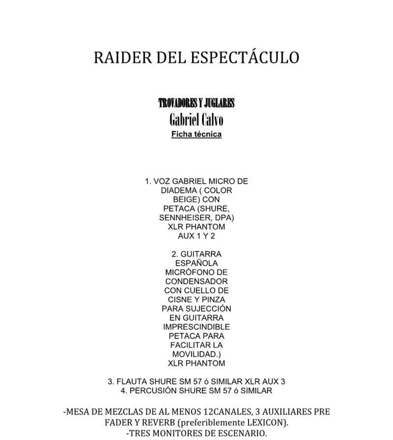 Raider Espectaculo Trovadores y Juglares